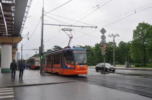 На фото один из новых трамваев в Москве