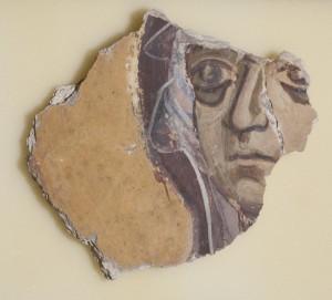 Фрагмент фрески с изображением лика Богоматери.  Роспись Георгиевского собора Юрьева монастыря. Около 1130 г.