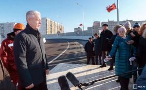Мэр Москвы Сергей Собянин открыл движение по новому путепроводу в Щербинке